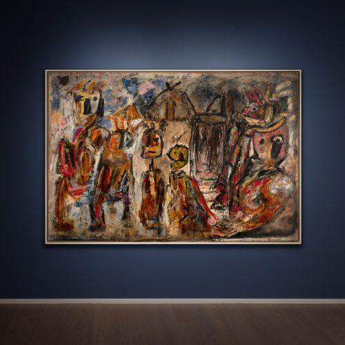 Pinot Gallizio, I guitti, 1956, tecnica mista su tela, 156x232 cm