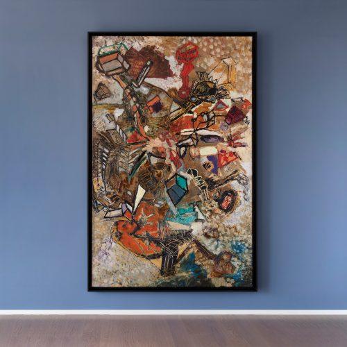 Pinot Gallizio, L'albero della vita, 1960-61, olio su tela, 225x144 cm