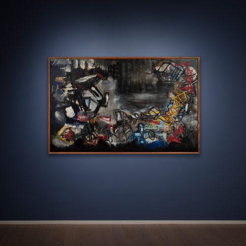 Pinot Gallizio, Gli Oracoli I, 1961, olio su tela, 145x227 cm
